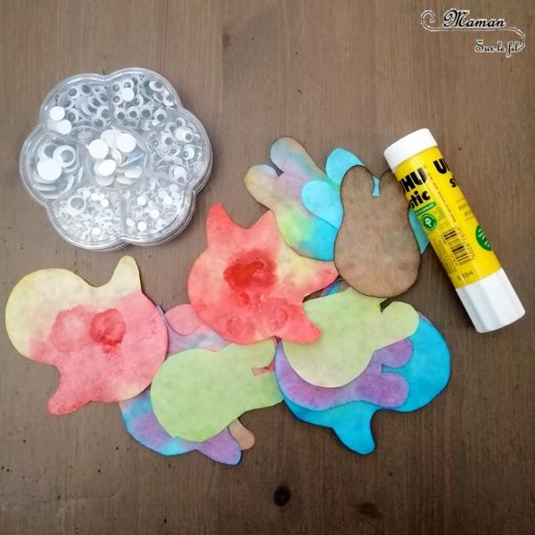 Activité créative enfants - Matriochka - PuPingouins ou manchots avec encre et filtres à café - pipette - Bricolage avec collage et yeux mobiles - Banquise - Froid polaire - arts visuels maternelle - Mélange de couleurs - mslf
