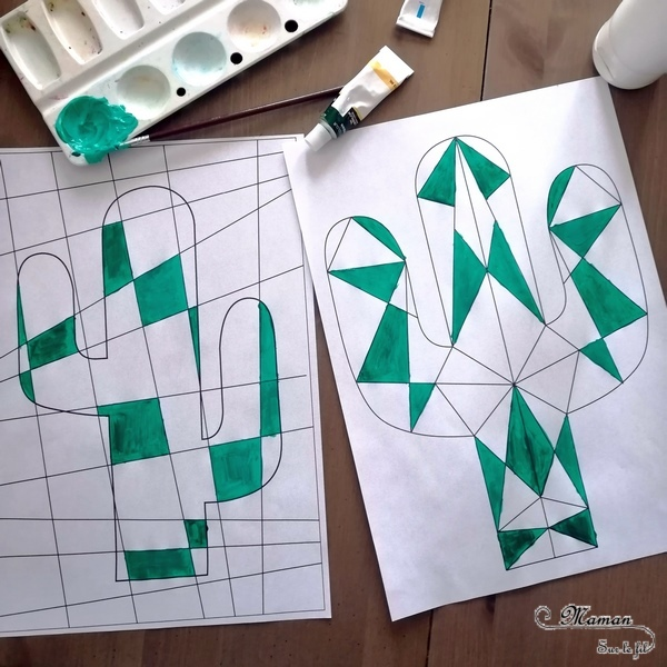 Activité créative enfants - Peindre des cactus graphiques avec la technique des dégradés de couleurs - Amérique du Nord - Mexique - peinture, symétrie et constraste - activités autour du monde - Arts visuels Découverte d'un pays - Espace et géographie - arts visuels Cycle 2 ou 3 - Eté - mslf