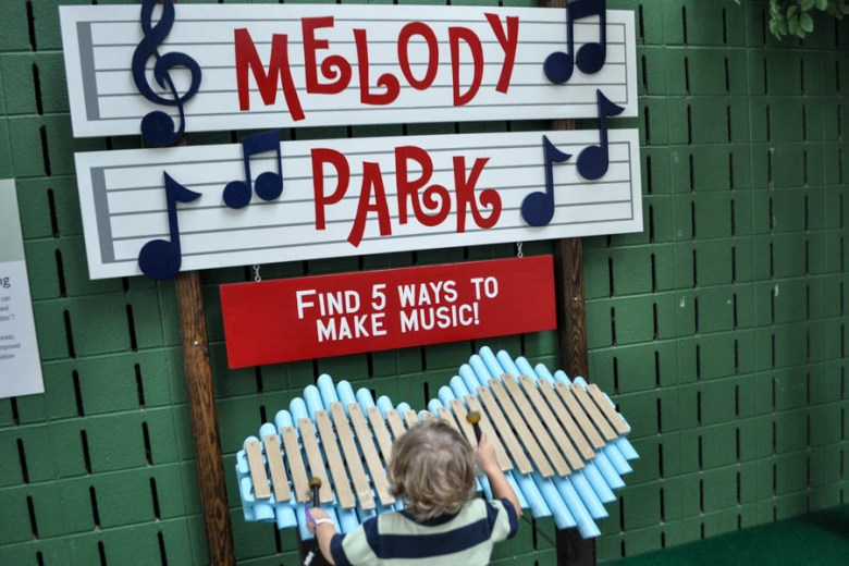Melody Park at Union Station  encourages kids to listen for sounds and make their own music.