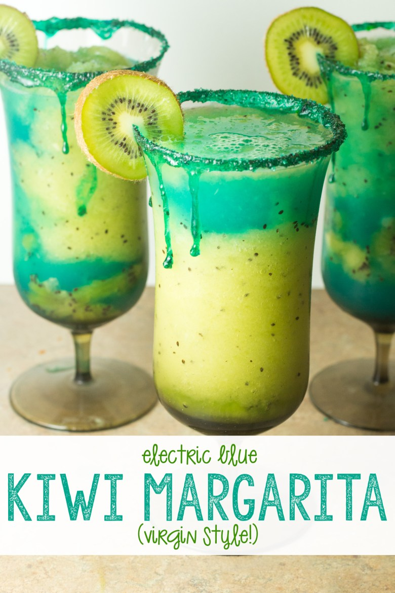 If you want all of the margarita fun and flavor and none of the alcohol, you'll love this totally virgin electric blue kiwi margarita! Hello, spring and summer! This has plenty of flavor-- lime and kiwi, blue and bright green, it's party-ready in no time. Virgin margarita recipe made quickly in your blender! | Virgin Kiwi Margarita |