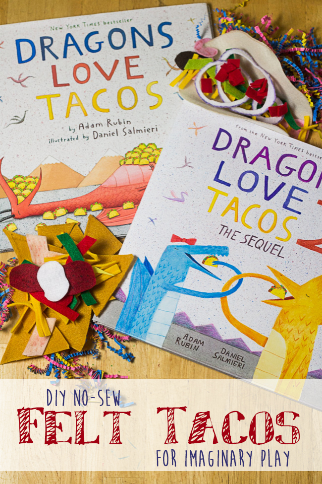 If you or your kids love Dragons Love Tacos, or it's sequel, you'll love these fun taco felt food ideas! DIY No-Sew Felt Tacos are perfect for mixing and matching, and they're perfect for play kitchens. If your child loves imaginative play, make these for a fraction of the cost of buying them from big name companies... and make exactly the taco flavor you'll want for your playroom. Perfect for kids who love to play cooking, and great for future chefs.