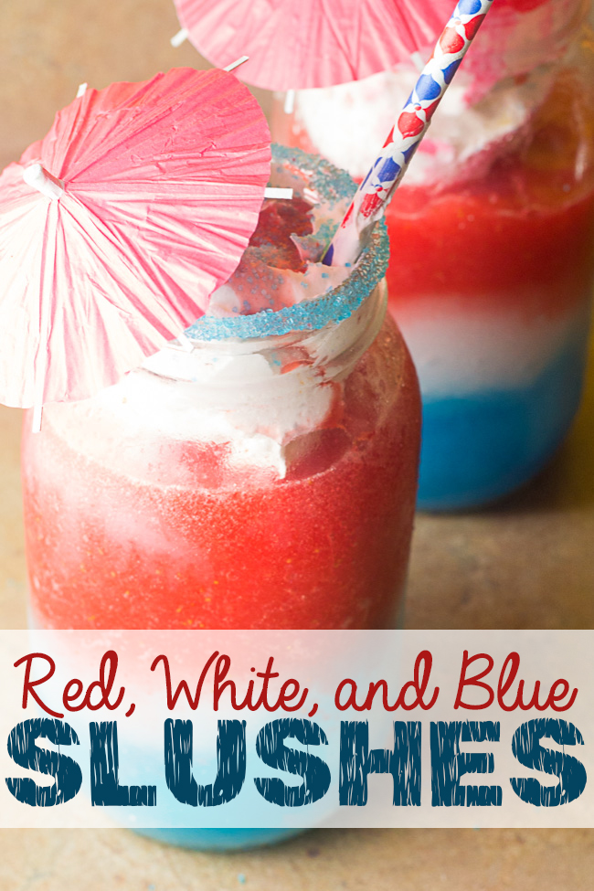 Celebrate the 4th of July with these red, white, and blue slushes that are easy to make and super refreshing! They're the perfect Independence Day mocktail that the whole family will love! Get star-spangled and layer them, or enjoy the individual components. You can't go wrong with this patriotic drink!