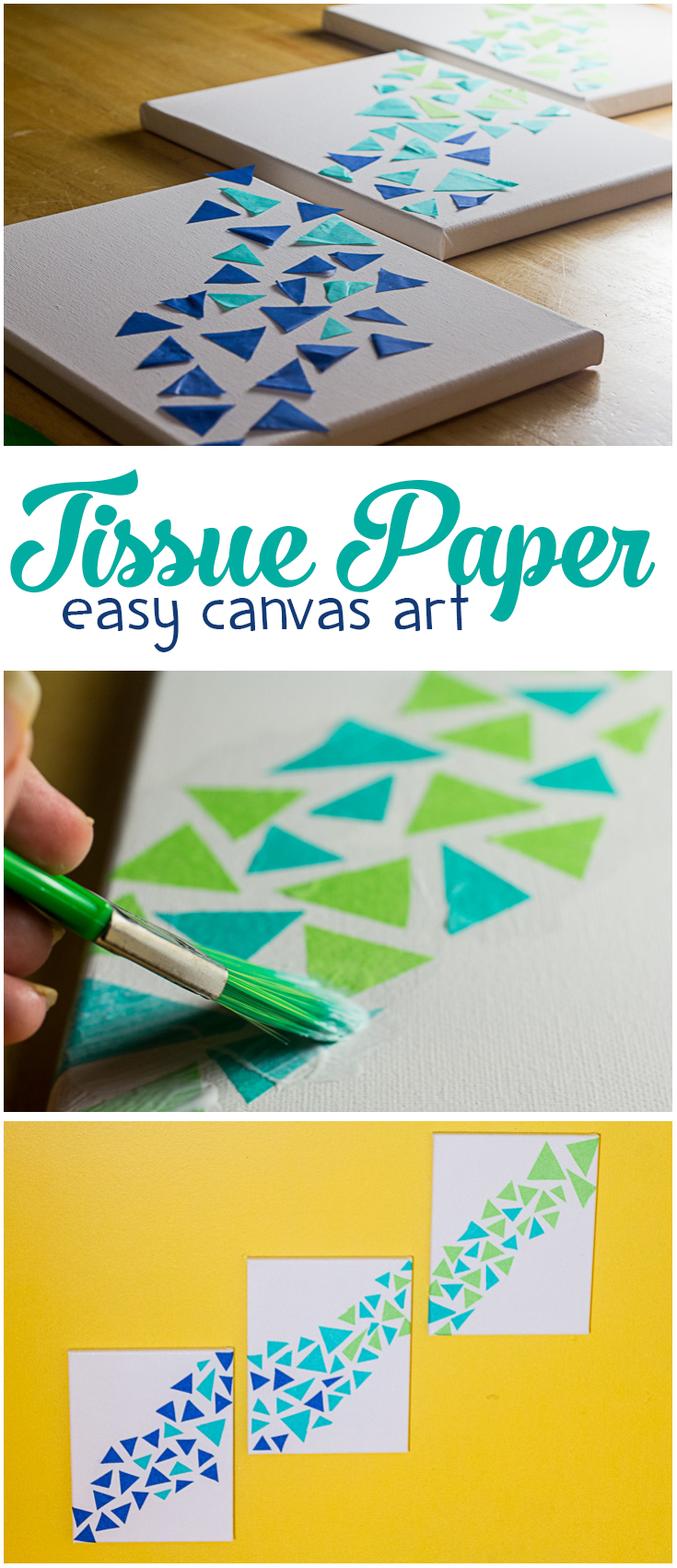 This tissue paper canvas art is so easy! Looking for the perfect mermaid scale artwork or easy craft project for you or your teen? This one takes less than an hour to make, is beautiful, and even makes a perfect gift! | DIY canvas art | tissue paper craft | easy craft for adults | easy teen craft |