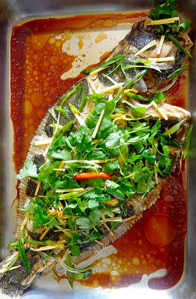 Steamed Whole Flounder Fish (Cantonese Style)