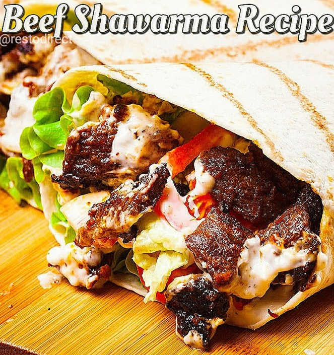 Shawarma Recipe, Beef Shawarma Recipe with Garlic Yogurt Sauce and Pita Recipe