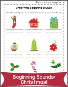 Beginning Sounds Worksheet: Christmas