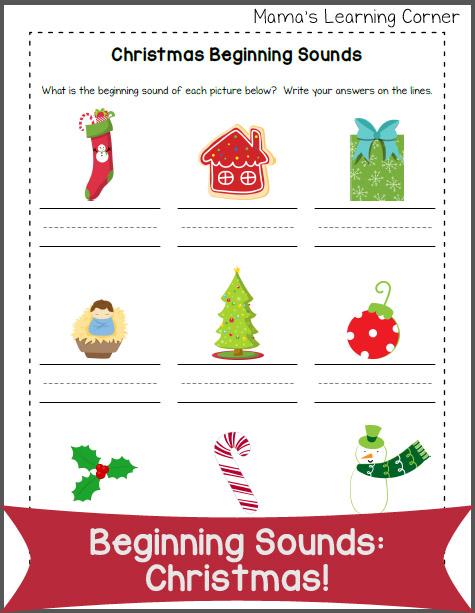 Beginning Sounds Worksheet: Christmas