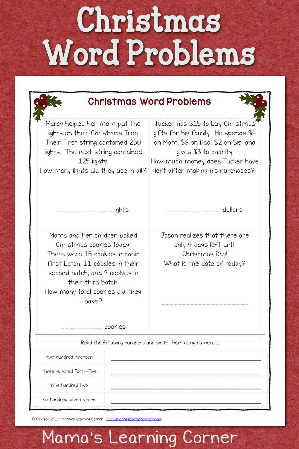 medium resolution of Christmas Word Problems - Mamas Learning Corner