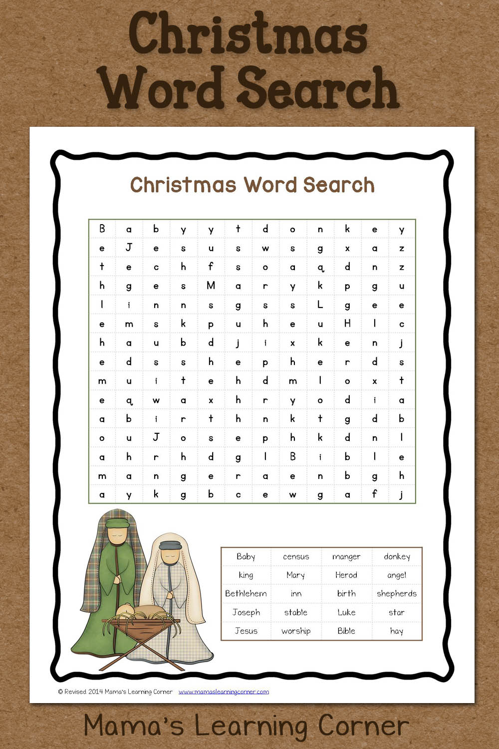 Christmas Crossword Puzzle 5th Grade
