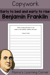 Handwriting: 'Early to Bed' Quote by Benjamin Franklin