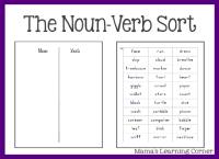 Parts of Speech: The Noun/Verb Sort - Mamas Learning Corner
