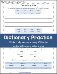 Dictionary Skills Practice Worksheet - Mamas Learning Corner