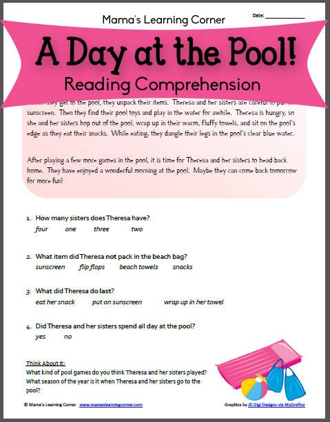 Pool Day: Reading Comprehension Worksheet