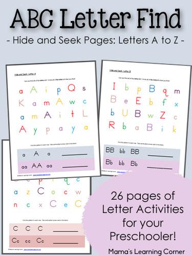 ABC Hide and Seek Letter Find Worksheets for Preschoolers