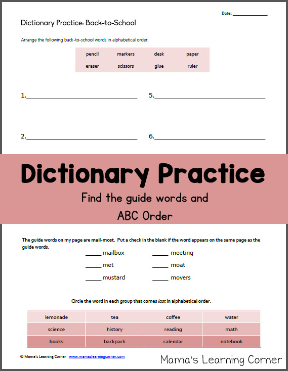 Free Worksheet: Dictionary Practice and ABC Order
