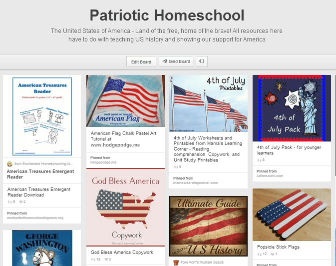 Patriotic Homeschool Pinterest Board
