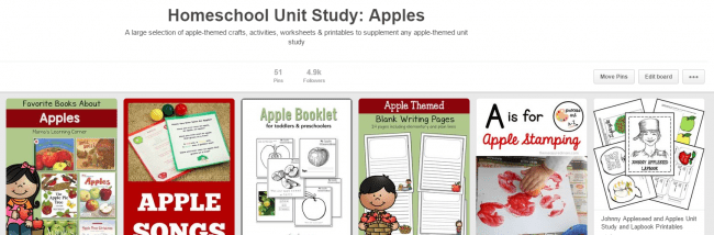 Pinterest Board: Unit Study on Apples