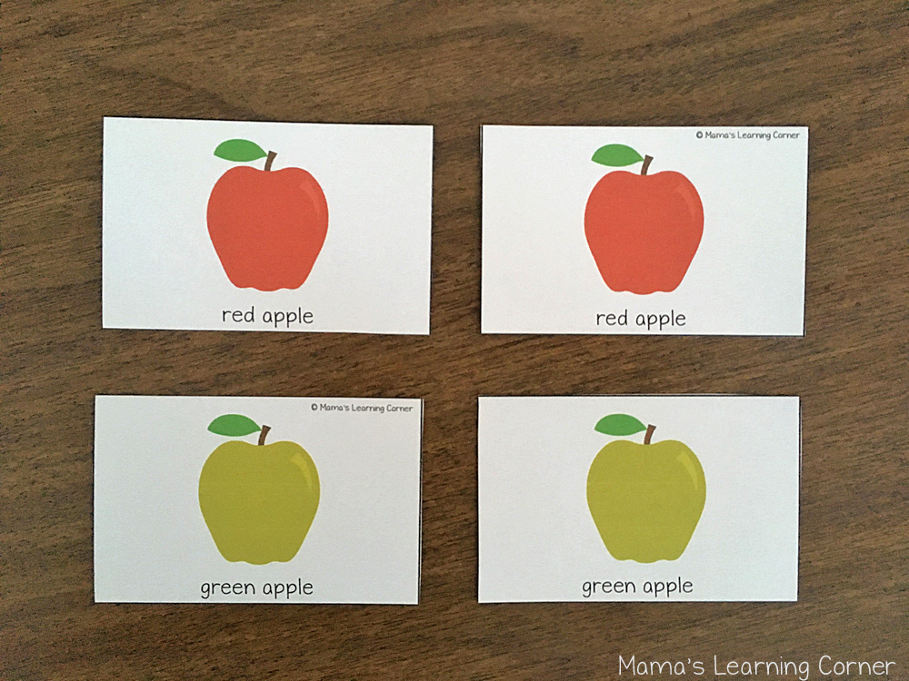 Fall Match Game Apple Cards