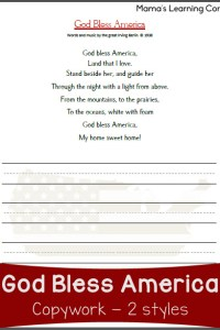 Copywork: God Bless America Lyrics