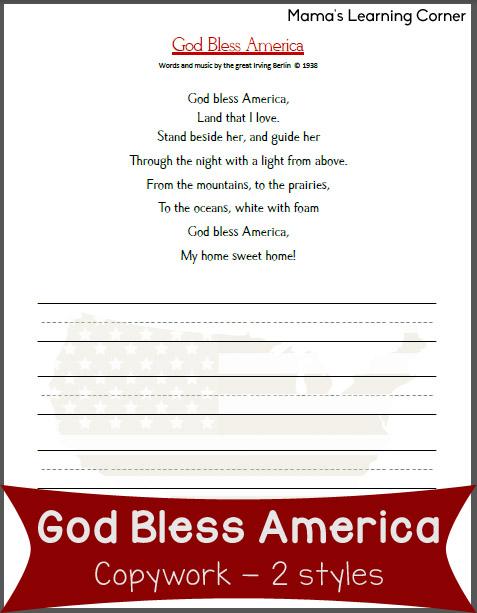 Free Copywork: God Bless America