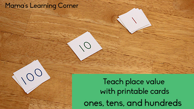Free Printable Place Value Cards to teach ones, tens, and hundreds