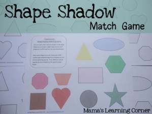 Shape Shadow Match Game - Mama's Learning Corner