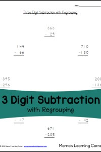 3 Digit Subtraction with Regrouping: Free Worksheet