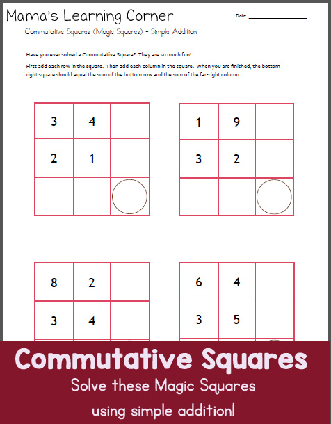 Commutative Squares Worksheet:  with Simple Addition