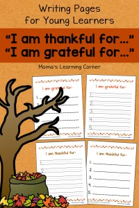 I am Thankful Writing Pages