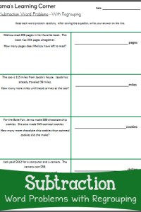 Subtraction Word Problems with Regrouping