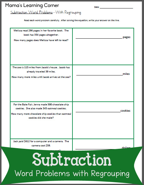 Subtraction Worksheet: Word Problems with Regrouping