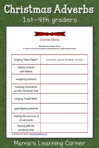 Christmas Adverbs: Free Worksheet for 1st-4th graders