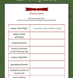 Christmas Adverbs Worksheet - Mamas Learning Corner [ 1500 x 1000 Pixel ]