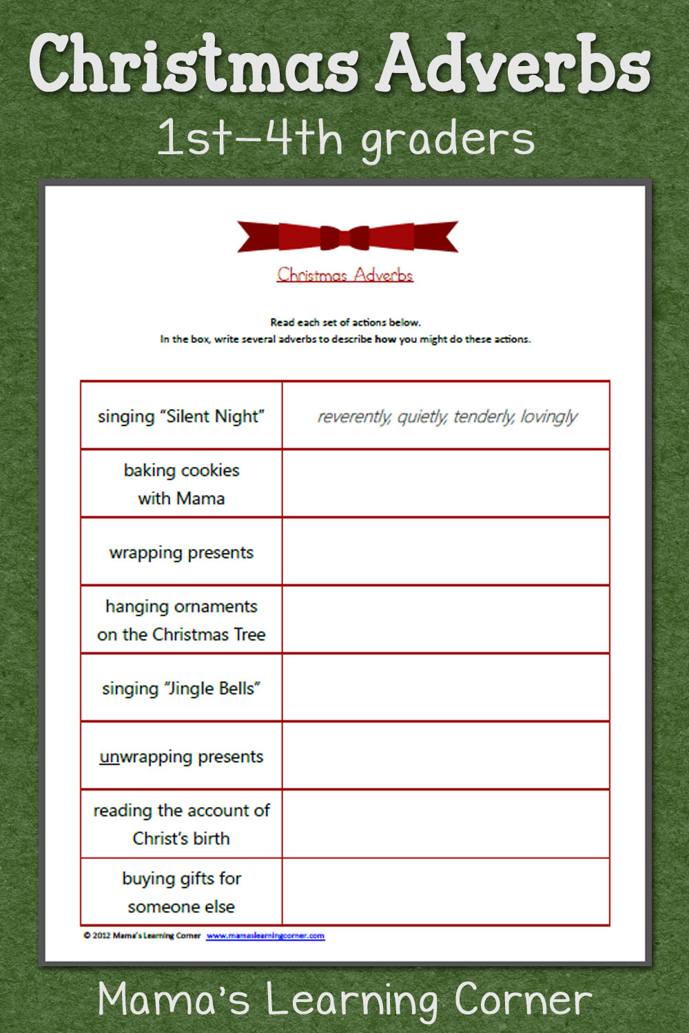 hight resolution of Christmas Adverbs Worksheet - Mamas Learning Corner