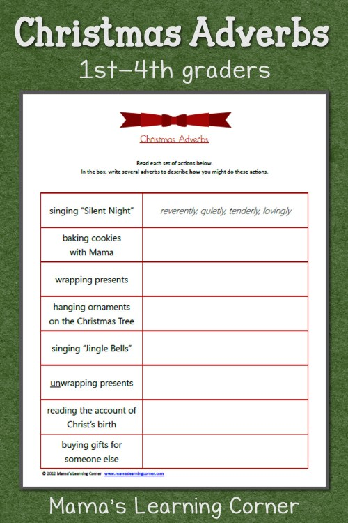 small resolution of Christmas Adverbs Worksheet - Mamas Learning Corner