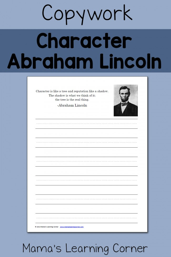 Abraham Lincoln Copywork Quote - Character