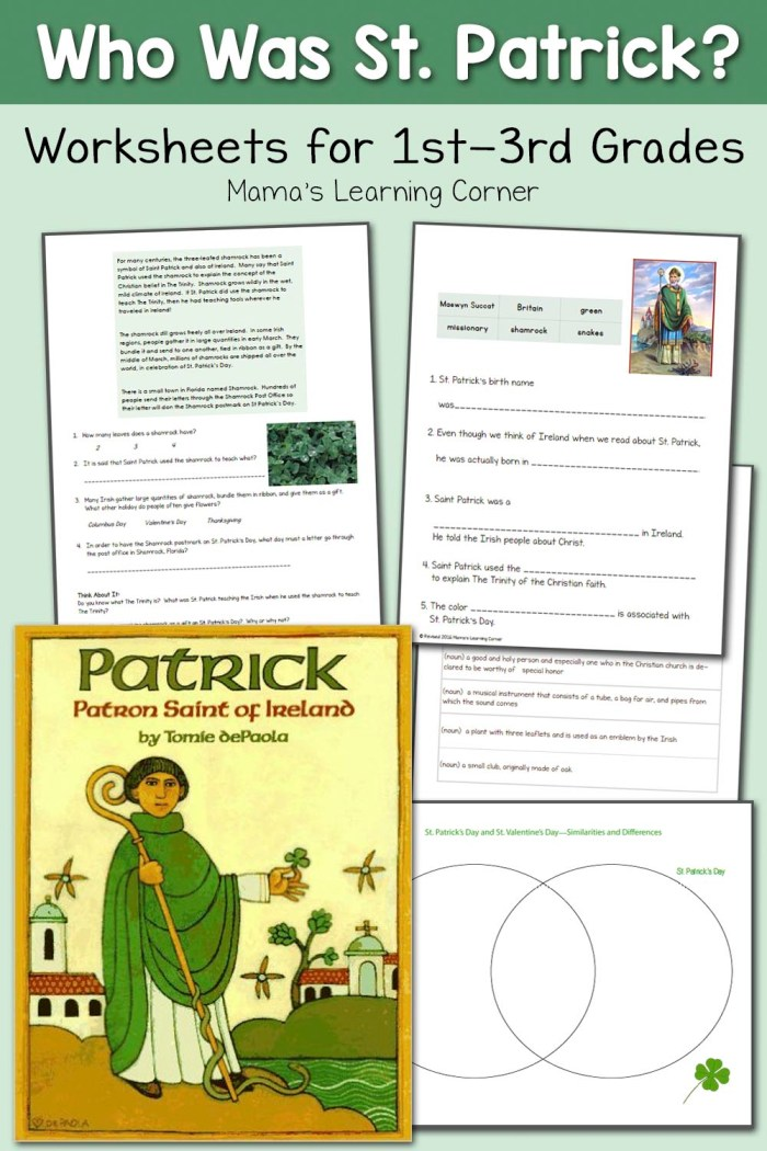 Saint Patrick Worksheets for 1st - 3rd Graders