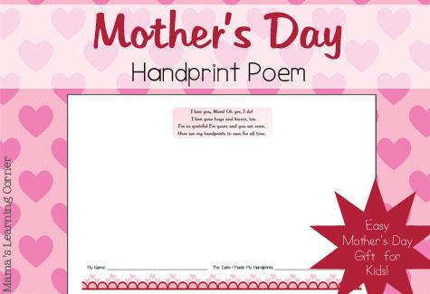 Mother S Day Handprint Poem Mamas Learning Corner