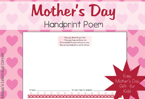 Mother's Day Handprint Poem - Mama's Learning Corner