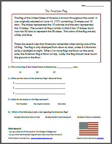 Reading Comprehension: The American Flag