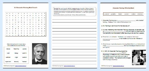 3 Free Alexander Fleming Worksheets and Printables for 1st - 3rd Grades