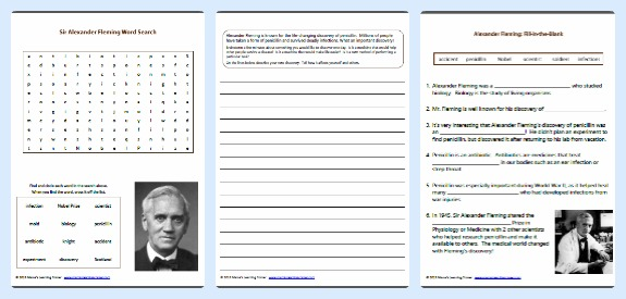 3 Free Alexander Fleming Worksheets and Printables for 1st - 3rd Grades