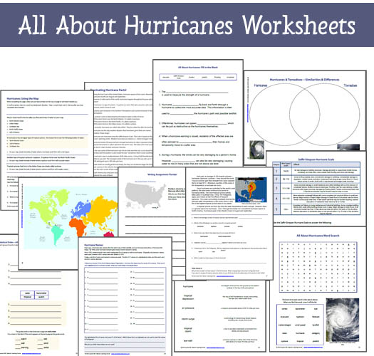 All About Hurricanes Worksheets - 14 exclusive hurricane-themed worksheets from Mama's Learning Corner