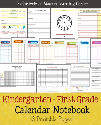 Free printable download that includes monthly calendar, date/day/month/year recognition, weather charting, bar graphs from weather data, telling time, tally marks, and more to use with Kindergarten-First Grades