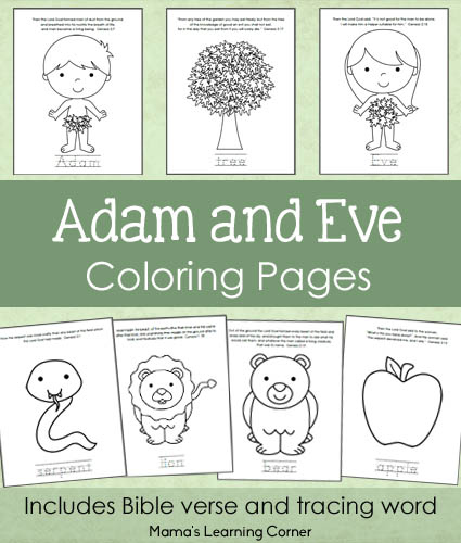 7-page set of Adam and Eve Bible Coloring Pages for Preschoolers and Kindergartners