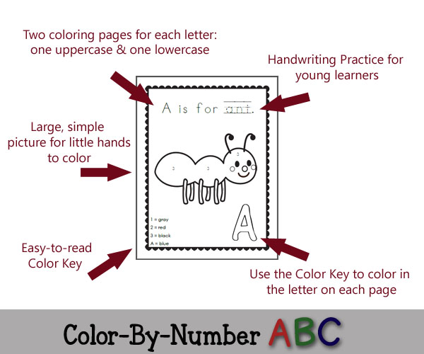 Features of Color-By-Number ABC - 50 printable coloring pages featuring each letter of the alphabet