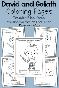 David and Goliath Bible Coloring Pages