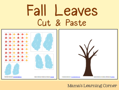 Fall Leaves Cut & Paste Activity for Preschoolers and Kindergartners