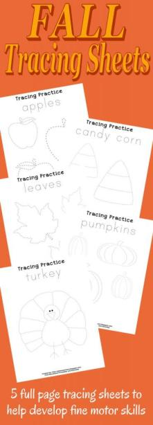 Fall Tracing Sheets from See Jamie Teach