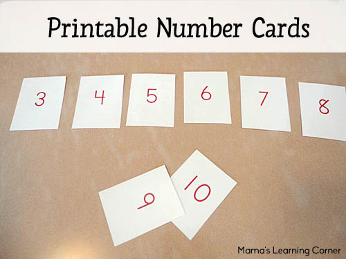 Printable Number Cards - one of Mama's must have manipulatives for young learners